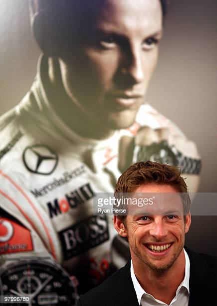 Jenson Button arrives at the TAG Heuer flagship boutique on March 24 2010 in Melbourne Australia