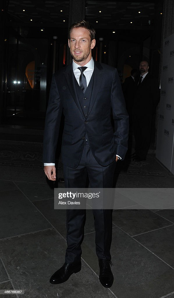 <a gi-track='captionPersonalityLinkClicked' href=/galleries/search?phrase=Jenson+Button&family=editorial&specificpeople=171505 ng-click='$event.stopPropagation()'>Jenson Button</a> Arriving at the national portrait gallery sighting on February 3, 2014 in London, England.