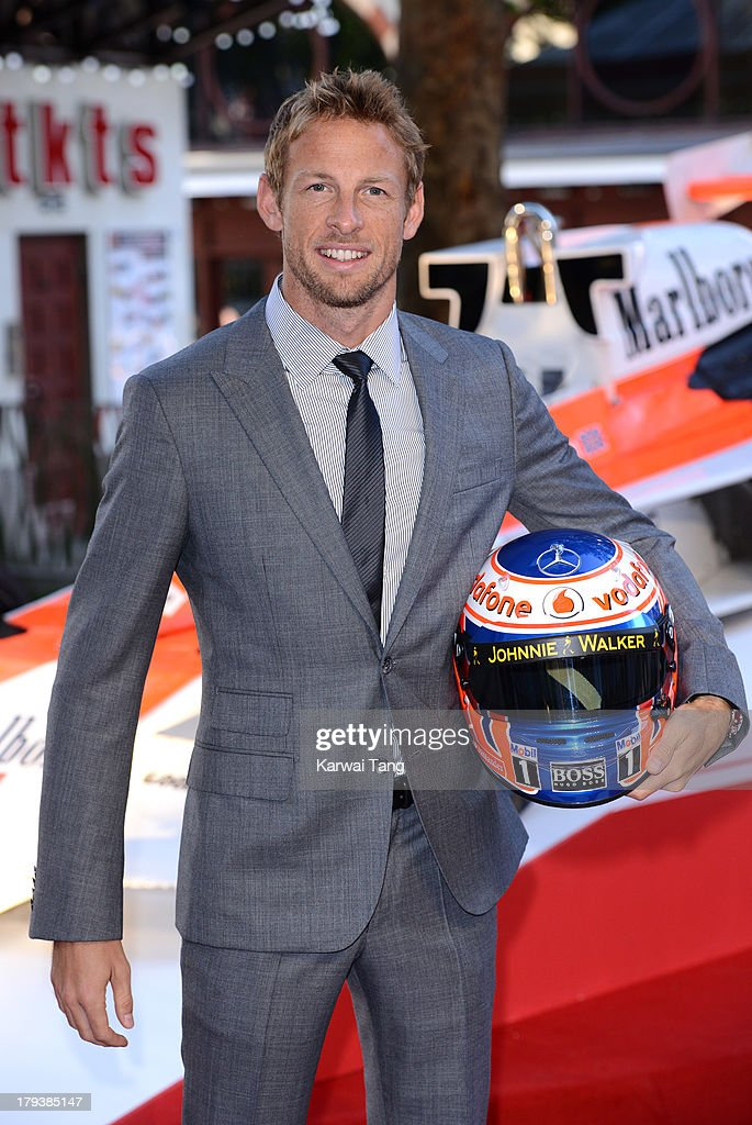 <a gi-track='captionPersonalityLinkClicked' href=/galleries/search?phrase=Jenson+Button&family=editorial&specificpeople=171505 ng-click='$event.stopPropagation()'>Jenson Button</a> attends the World Premiere of 'Rush' at the Odeon Leicester Square on September 2, 2013 in London, England.