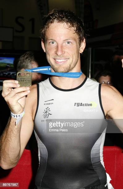 Jenson Button competes at the Mazda London Triathlon at ExCel on August 2 2009 in London England