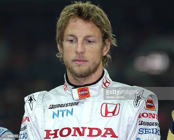 Jenson Button during a tribute to the late rally driver Colin McRae at The Race Of Champions on December 16 2007 in London England