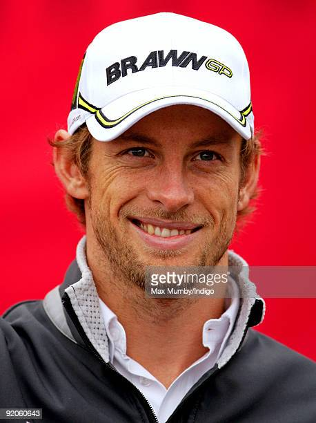 Jenson Button Formula 1 World Champion attends a photocall to promote Virgin Media's Speedweek50 at Bluewater shopping centre on October 20 2009 in...