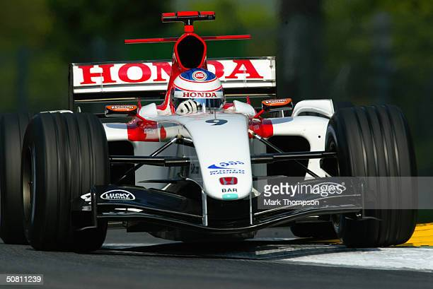 Jenson Button of England and BAR Honda during the qualifying session at the San Marino F1 Grand Prix on April 24 at the San Marino circuit in Imola...