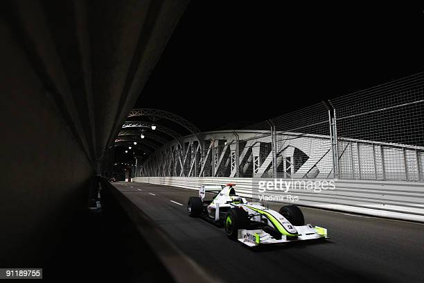Jenson Button of Great Britain and Brawn GP drives during the Singapore Formula One Grand Prix at the Marina Bay Street Circuit on September 27 2009...