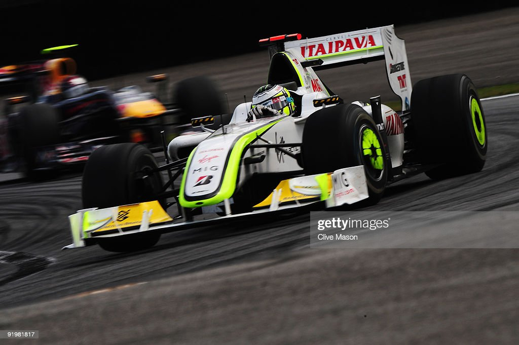 Jenson Button of Great Britain and Brawn GP drives on his way clinching the F1 World Drivers Championship during the Brazilian Formula One Grand Prix at the Interlagos Circuit on October 18, 2009 in Sao Paulo, Brazil.