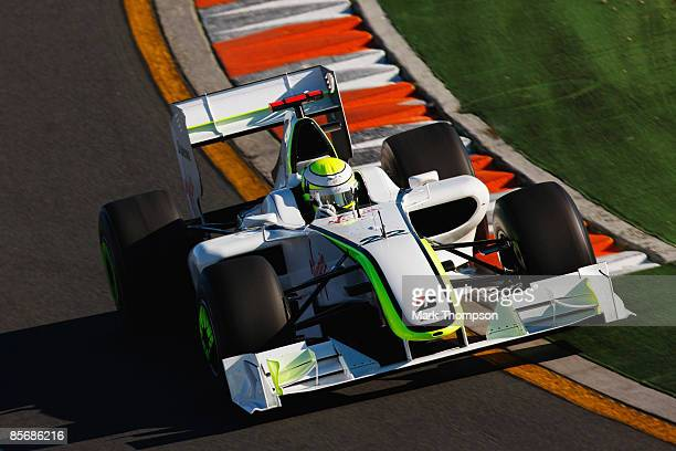 Jenson Button of Great Britain and Brawn GP drives on his way to winning the Australian Formula One Grand Prix at the Albert Park Circuit on March 29...
