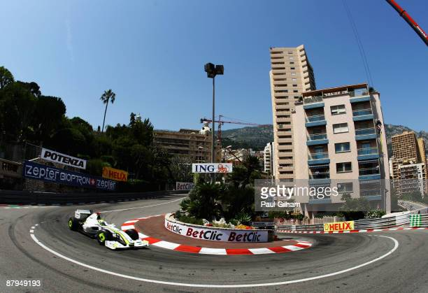 Jenson Button of Great Britain and Brawn GP drives on his way to winning the Monaco Formula One Grand Prix at the Monte Carlo Circuit on May 24 2009...