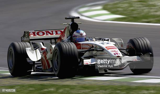 Jenson Button of Great Britain and Honda Racing in action during the San Marino Formula One Grand Prix at the San Marino Circuit on April 23 in Imola...