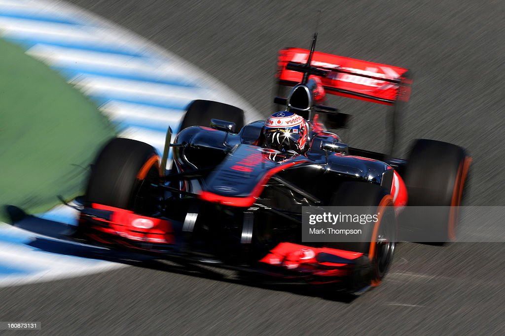 <a gi-track='captionPersonalityLinkClicked' href=/galleries/search?phrase=Jenson+Button&family=editorial&specificpeople=171505 ng-click='$event.stopPropagation()'>Jenson Button</a> of Great Britain and McLaren drives during Formula One winter testing at Circuito de Jerez on February 7, 2013 in Jerez de la Frontera, Spain.