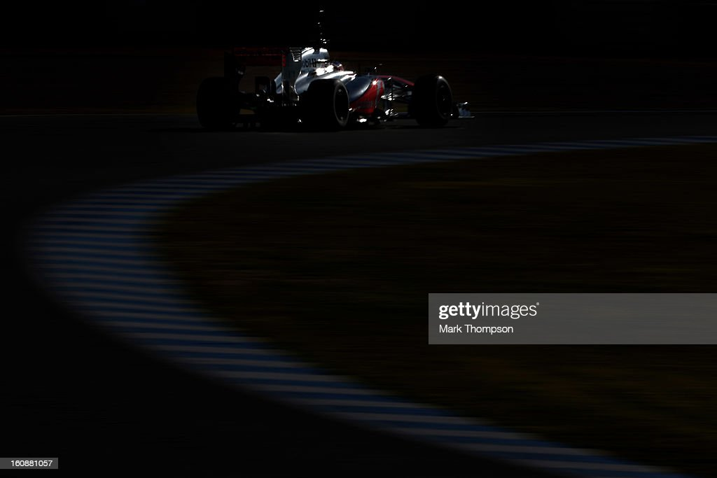 Jenson Button of Great Britain and McLaren drives during Formula One winter testing at Circuito de Jerez on February 7, 2013 in Jerez de la Frontera, Spain.