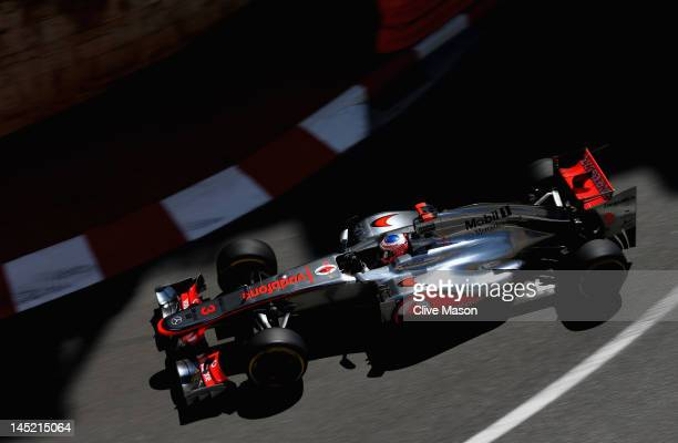 Jenson Button of Great Britain and McLaren drives during practice for the Monaco Formula One Grand Prix at the Monte Carlo Circuit on May 24 2012 in...