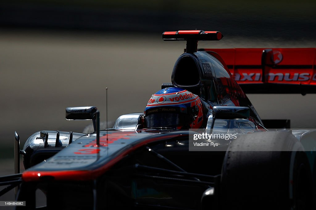 <a gi-track='captionPersonalityLinkClicked' href=/galleries/search?phrase=Jenson+Button&family=editorial&specificpeople=171505 ng-click='$event.stopPropagation()'>Jenson Button</a> of Great Britain and McLaren drives during practice for the Hungarian Formula One Grand Prix at the Hungaroring on July 27, 2012 in Budapest, Hungary.