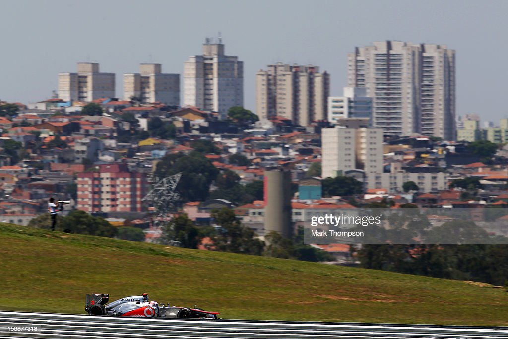 Jenson Button of Great Britain and McLaren drives during practice for the Brazilian Formula One Grand Prix at the Autodromo Jose Carlos Pace on November 23, 2012 in Sao Paulo, Brazil.