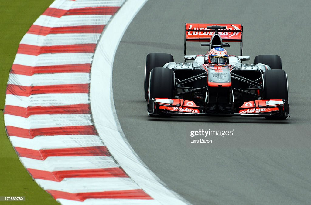 Jenson Button of Great Britain and McLaren drives during practice for the German Grand Prix at the Nuerburgring on July 5, 2013 in Nuerburg, Germany.
