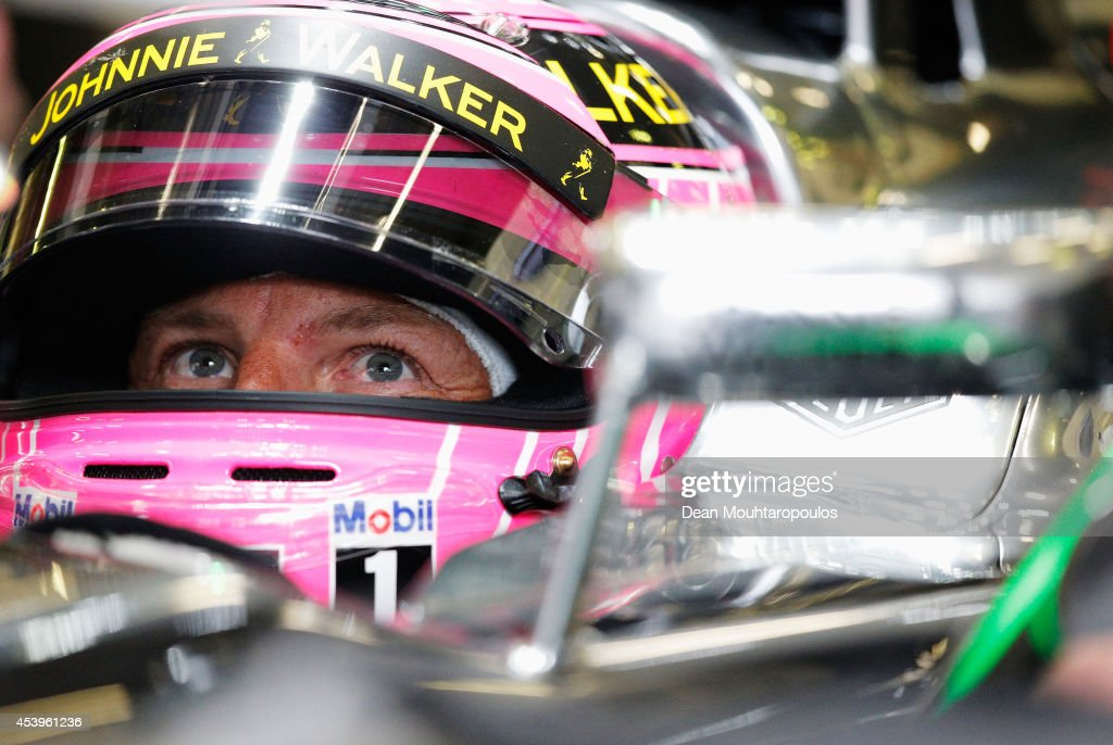 Jenson Button of Great Britain and McLaren drives during practice ahead of the Belgian Grand Prix at Circuit de Spa-Francorchamps on August 22, 2014 in Spa, Belgium.