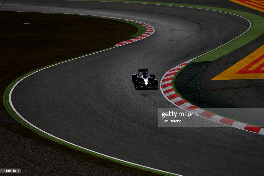 Jenson Button of Great Britain and McLaren drives during practice ahead of the Spanish F1 Grand Prix at Circuit de Catalunya on May 9 2014 in...