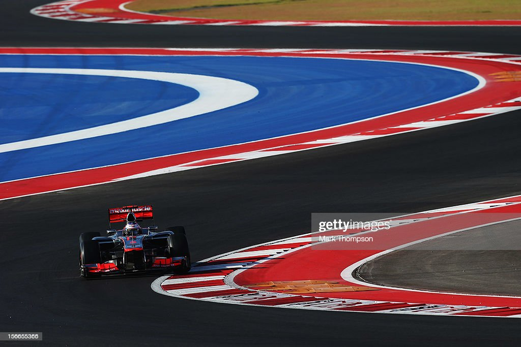 Jenson Button of Great Britain and McLaren drives during qualifying for the United States Formula One Grand Prix at the Circuit of the Americas on November 17, 2012 in Austin, Texas.