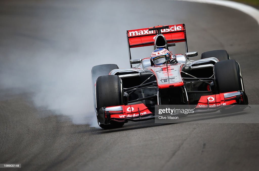 <a gi-track='captionPersonalityLinkClicked' href=/galleries/search?phrase=Jenson+Button&family=editorial&specificpeople=171505 ng-click='$event.stopPropagation()'>Jenson Button</a> of Great Britain and McLaren drives during qualifying for the Brazilian Formula One Grand Prix at the Autodromo Jose Carlos Pace on November 24, 2012 in Sao Paulo, Brazil.