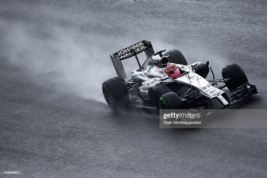 Jenson Button of Great Britain and McLaren drives during qualifying ahead of the Belgian Grand Prix at Circuit de Spa-Francorchamps on August 23, 2014 in Spa, Belgium.