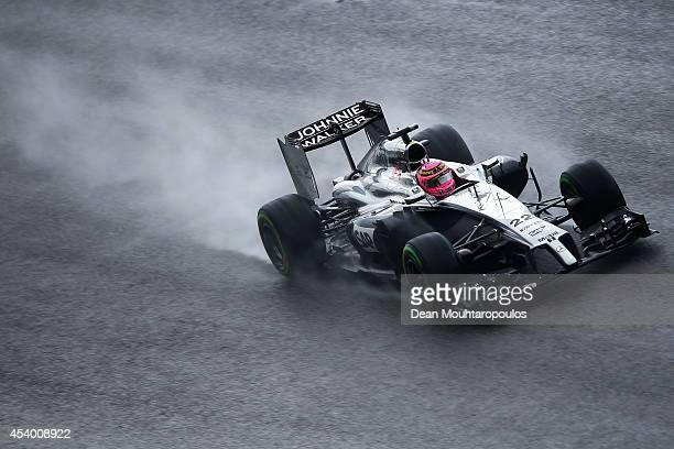 Jenson Button of Great Britain and McLaren drives during qualifying ahead of the Belgian Grand Prix at Circuit de SpaFrancorchamps on August 23 2014...