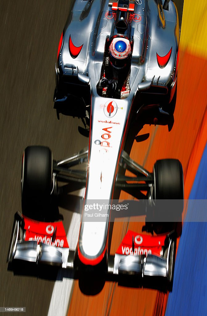 <a gi-track='captionPersonalityLinkClicked' href=/galleries/search?phrase=Jenson+Button&family=editorial&specificpeople=171505 ng-click='$event.stopPropagation()'>Jenson Button</a> of Great Britain and McLaren drives during the European Grand Prix at the Valencia Street Circuit on June 24, 2012 in Valencia, Spain.