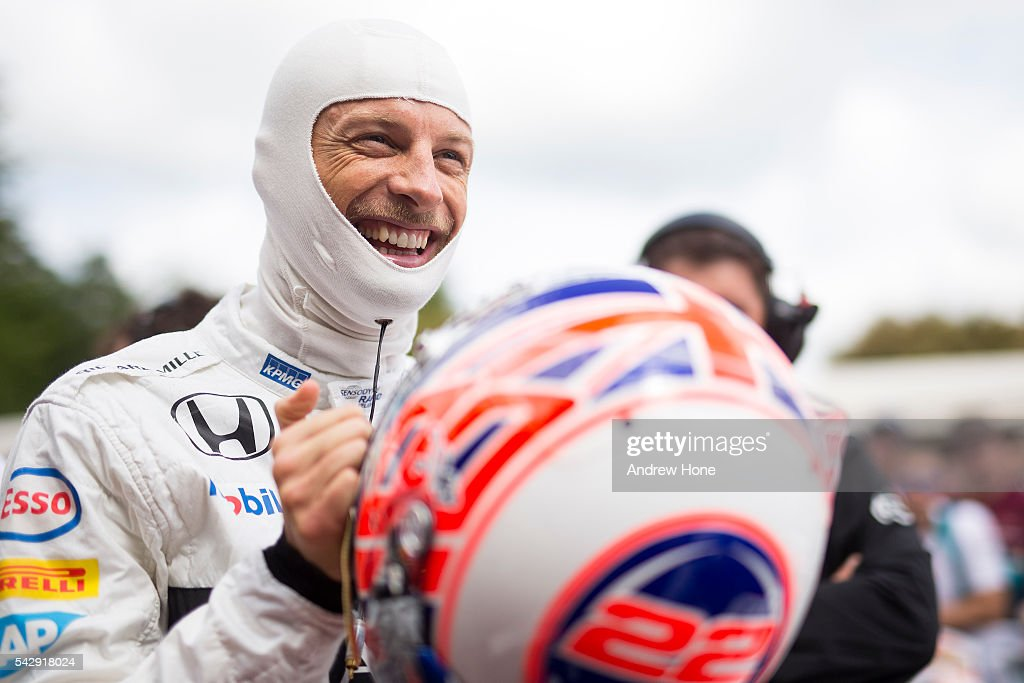 <a gi-track='captionPersonalityLinkClicked' href=/galleries/search?phrase=Jenson+Button&family=editorial&specificpeople=171505 ng-click='$event.stopPropagation()'>Jenson Button</a> of Great Britain and McLaren drives the MP4/2 at The Goodwood Festival of Speed on June 25, 2016 in Chichester, England.