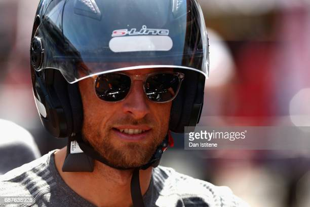 Jenson Button of Great Britain and McLaren Honda arrives at the circuit during previews for the Monaco Formula One Grand Prix at Circuit de Monaco on...