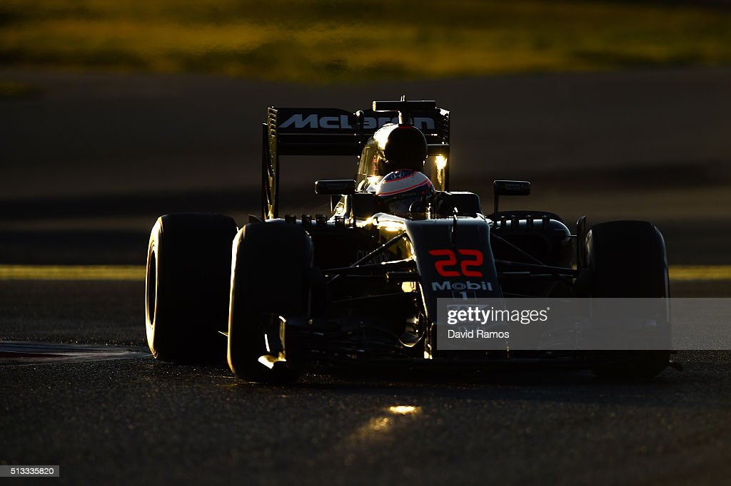 Jenson Button of Great Britain and McLaren Honda drives during day two of F1 winter testing at Circuit de Catalunya on March 2 2016 in Montmelo Spain
