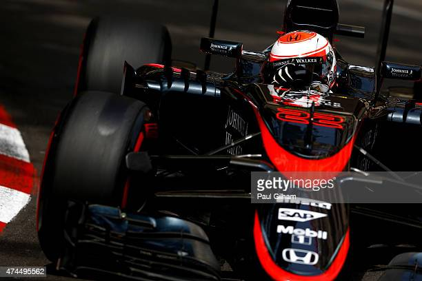 Jenson Button of Great Britain and McLaren Honda drives during final practice for the Monaco Formula One Grand Prix at Circuit de Monaco on May 23...