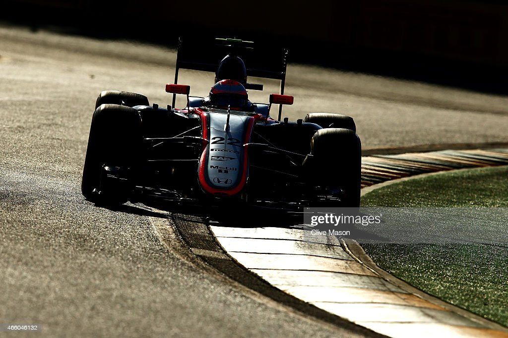 Jenson Button of Great Britain and McLaren Honda drives during practice for the Australian Formula One Grand Prix at Albert Park on March 13, 2015 in Melbourne, Australia.
