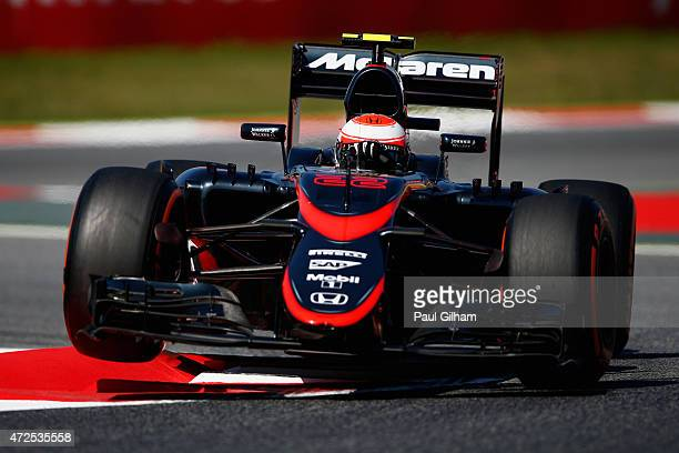 Jenson Button of Great Britain and McLaren Honda drives during practice for the Spanish Formula One Grand Prix at Circuit de Catalunya on May 8 2015...