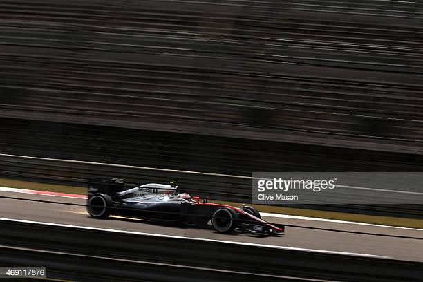 Jenson Button of Great Britain and McLaren Honda during practice for the Formula One Grand Prix of China at Shanghai International Circuit on April...