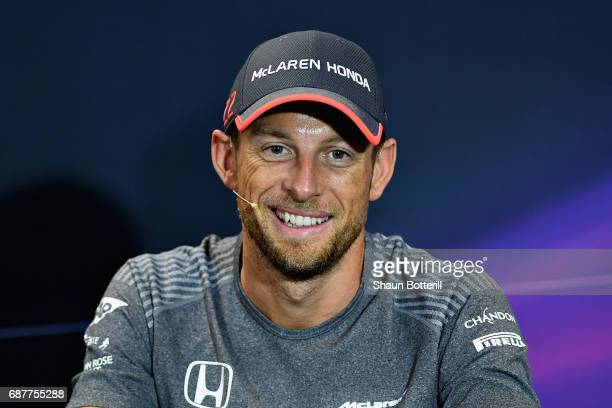 Jenson Button of Great Britain and McLaren Honda in the Drivers Press Conference during previews for the Monaco Formula One Grand Prix at Circuit de...