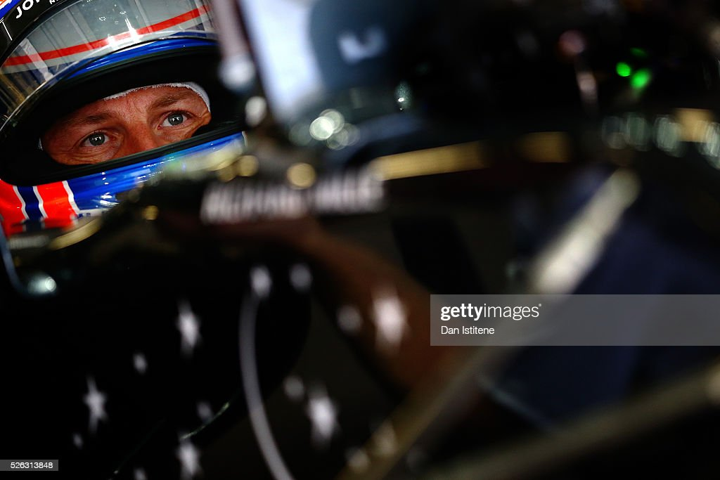 <a gi-track='captionPersonalityLinkClicked' href=/galleries/search?phrase=Jenson+Button&family=editorial&specificpeople=171505 ng-click='$event.stopPropagation()'>Jenson Button</a> of Great Britain and McLaren Honda in the garage during final practice ahead of the Formula One Grand Prix of Russia at Sochi Autodrom on April 30, 2016 in Sochi, Russia.