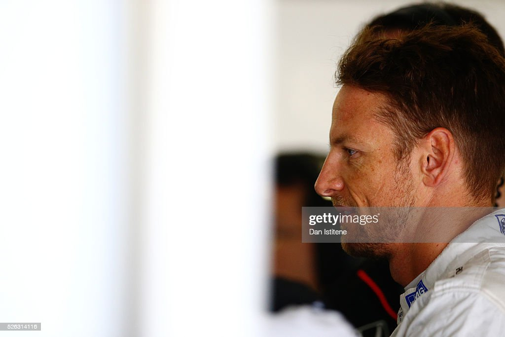 Jenson Button of Great Britain and McLaren Honda in the garage during final practice ahead of the Formula One Grand Prix of Russia at Sochi Autodrom on April 30, 2016 in Sochi, Russia.