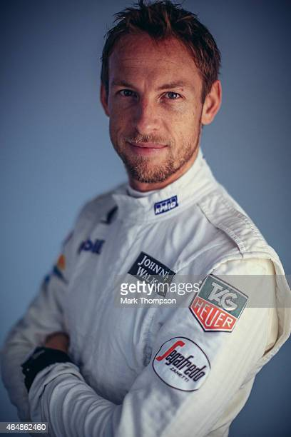 Jenson Button of Great Britain and McLaren Honda poses for a portrait during day three of Formula One Winter Testing at Circuit de Catalunya on...