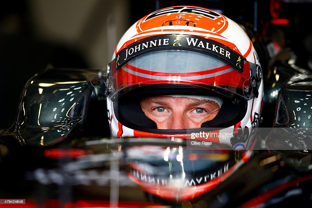 <a gi-track='captionPersonalityLinkClicked' href=/galleries/search?phrase=Jenson+Button&family=editorial&specificpeople=171505 ng-click='$event.stopPropagation()'>Jenson Button</a> of Great Britain and McLaren Honda sits in his car in the garage during final practice for the Formula One Grand Prix of Great Britain at Silverstone Circuit on July 4, 2015 in Northampton, England.