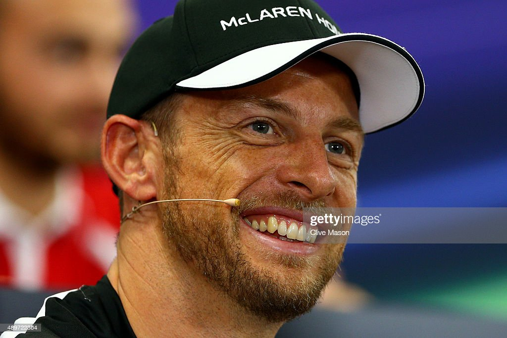 <a gi-track='captionPersonalityLinkClicked' href=/galleries/search?phrase=Jenson+Button&family=editorial&specificpeople=171505 ng-click='$event.stopPropagation()'>Jenson Button</a> of Great Britain and McLaren Honda smiles at a press conference during previews to the Formula One Grand Prix of Japan at Suzuka Circuit on September 24, 2015 in Suzuka.