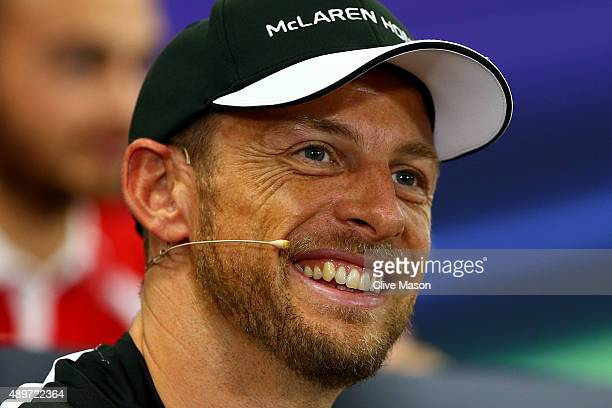 Jenson Button of Great Britain and McLaren Honda smiles at a press conference during previews to the Formula One Grand Prix of Japan at Suzuka...