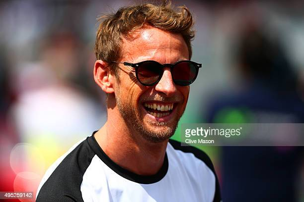 Jenson Button of Great Britain and McLaren Honda takes part in the drivers' parade before the Formula One Grand Prix of Mexico at Autodromo Hermanos...