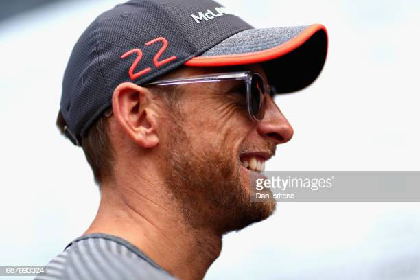 Jenson Button of Great Britain and McLaren Honda talks to the media in the Paddock during previews for the Monaco Formula One Grand Prix at Circuit...