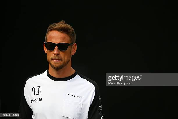 Jenson Button of Great Britain and McLaren Honda walks in the paddock during previews to the Formula One Grand Prix of Italy at Autodromo di Monza on...