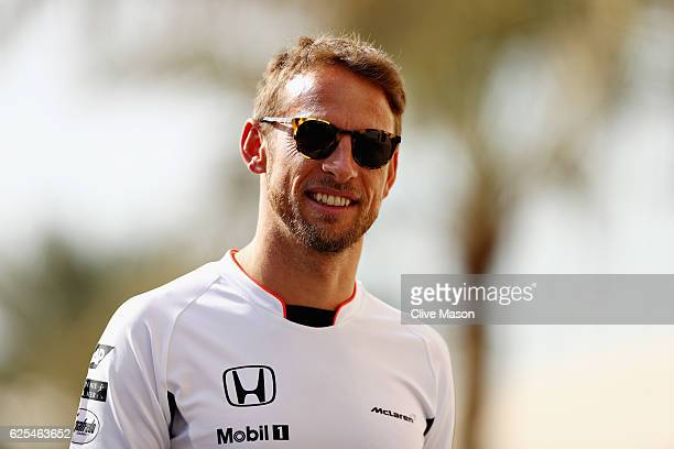 Jenson Button of Great Britain and McLaren Honda walks in the Paddock during previews for the Abu Dhabi Formula One Grand Prix at Yas Marina Circuit...