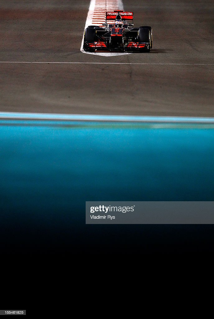 Jenson Button of Great Britain and McLaren in action during the Abu Dhabi Formula One Grand Prix at the Yas Marina Circuit on November 4, 2012 in Abu Dhabi, United Arab Emirates.