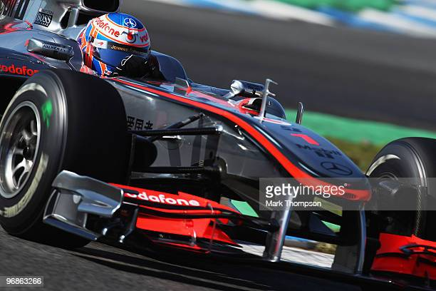 Jenson Button of Great Britain and McLaren Mercedes drives during winter testing at the Circuito De Jerez on February 19 2010 in Jerez de la Frontera...