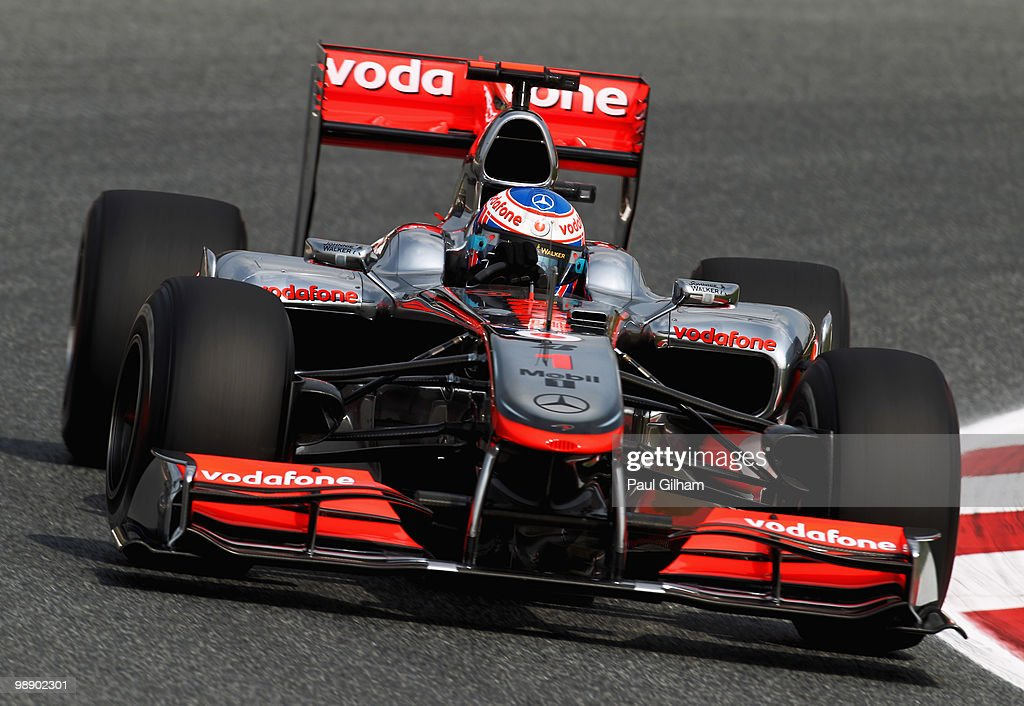 Jenson Button of Great Britain and McLaren Mercedes drives during practice for the Spanish Formula One Grand Prix at the Circuit de Catalunya on May 7, 2010 in Barcelona, Spain.