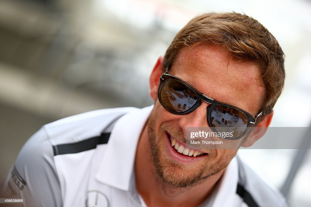 <a gi-track='captionPersonalityLinkClicked' href=/galleries/search?phrase=Jenson+Button&family=editorial&specificpeople=171505 ng-click='$event.stopPropagation()'>Jenson Button</a> of Great Britain and McLaren speaks with members of the media during previews ahead of the Brazilian Formula One Grand Prix at Autodromo Jose Carlos Pace on November 6, 2014 in Sao Paulo, Brazil.