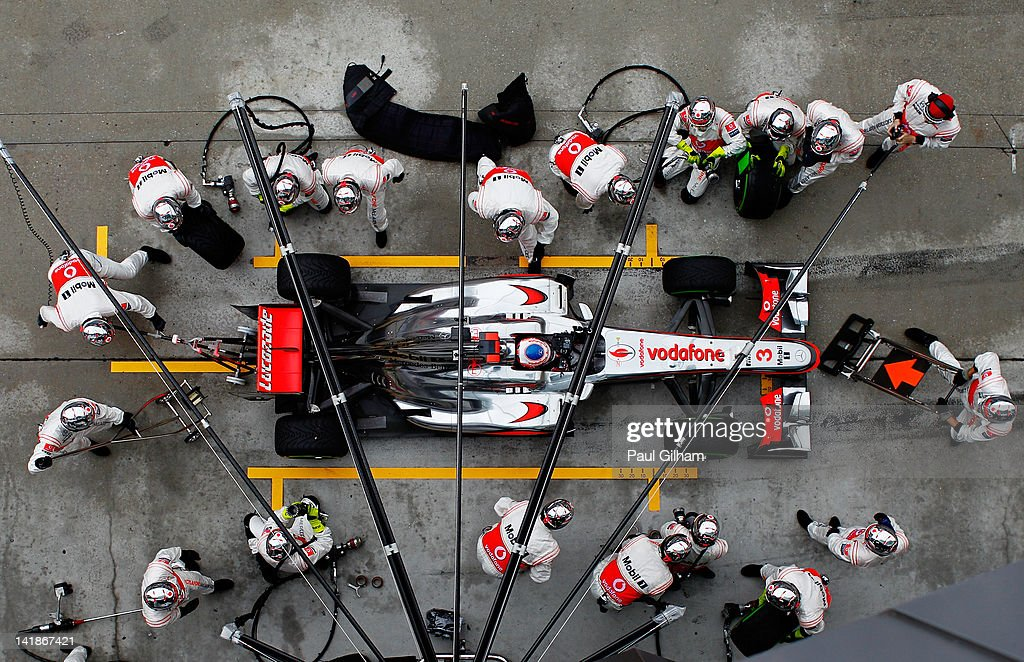 <a gi-track='captionPersonalityLinkClicked' href=/galleries/search?phrase=Jenson+Button&family=editorial&specificpeople=171505 ng-click='$event.stopPropagation()'>Jenson Button</a> of Great Britain and McLaren stops for a pitstop during the Malaysian Formula One Grand Prix at the Sepang Circuit on March 25, 2012 in Kuala Lumpur, Malaysia.