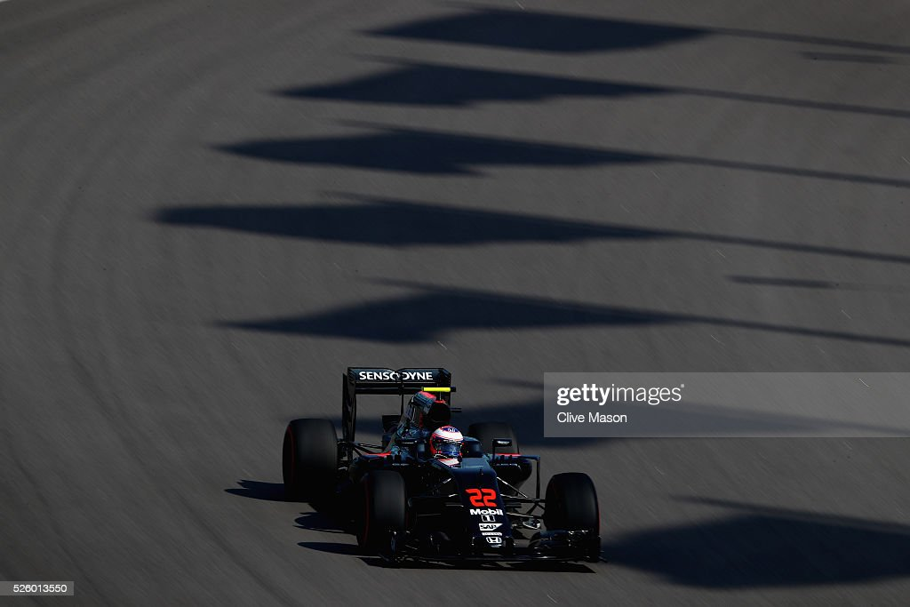 Jenson Button of Great Britain driving the (22) McLaren Honda Formula 1 Team McLaren MP4-31 Honda RA616H Hybrid turbo on track during practice for the Formula One Grand Prix of Russia at Sochi Autodrom on April 29, 2016 in Sochi, Russia.