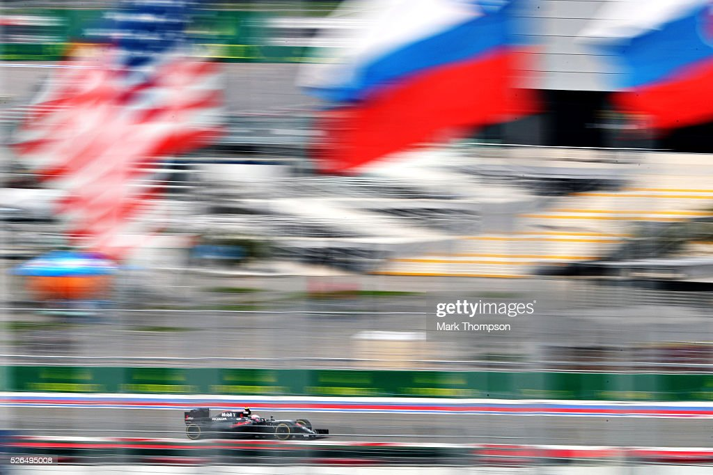 Jenson Button of Great Britain driving the (22) McLaren Honda Formula 1 Team McLaren MP4-31 Honda RA616H Hybrid turbo on track during final practice ahead of the Formula One Grand Prix of Russia at Sochi Autodrom on April 30, 2016 in Sochi, Russia.